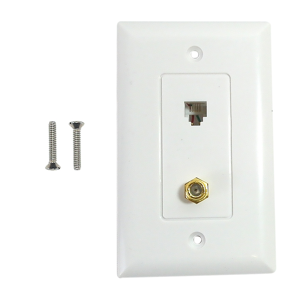 HF-WPK-TTV1-WH: Single gang decora style 1x coax 1x telephone wall plate 6P4C - White