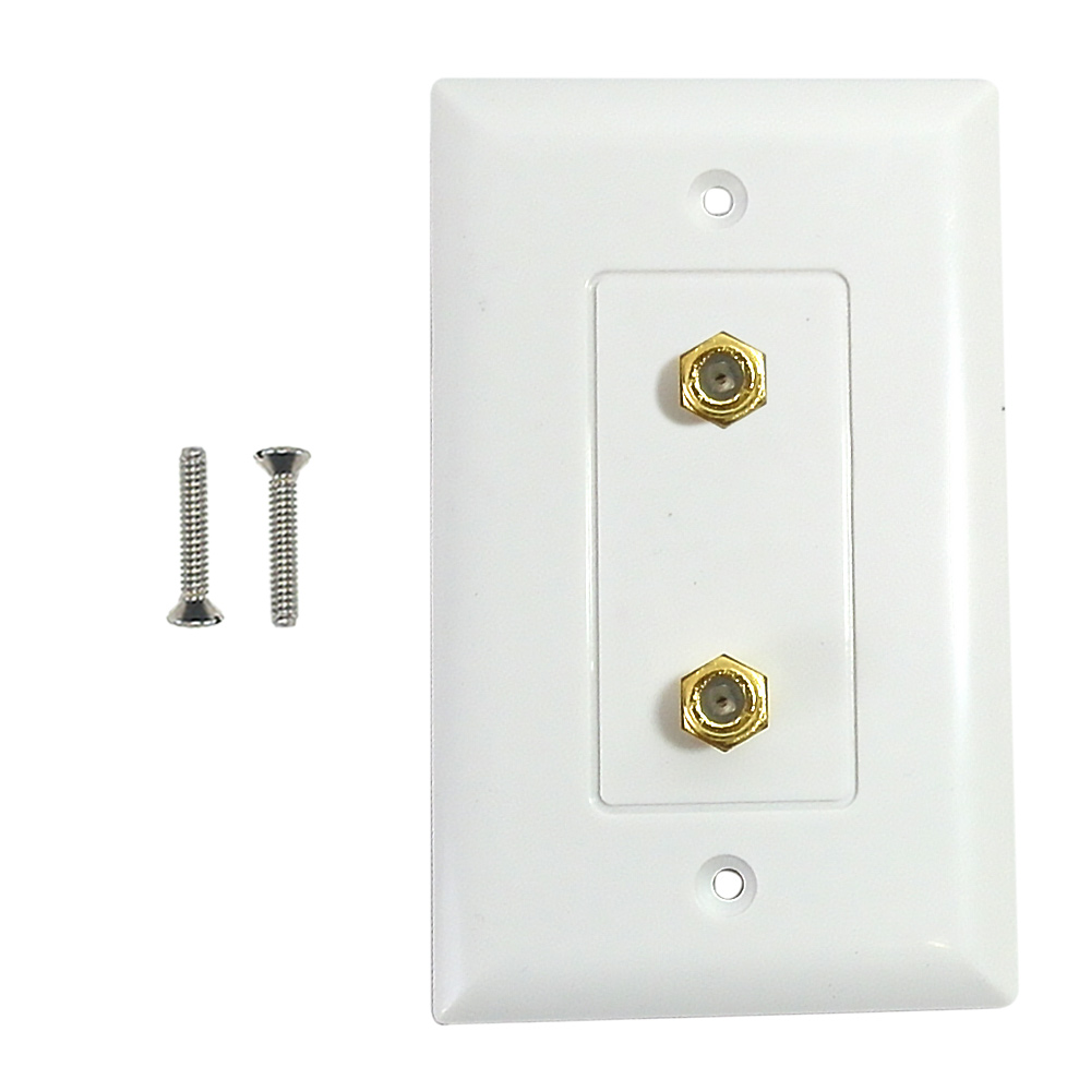 HF-WPK-TV2-WH: Single gang decora style 2x coax wall plate - White