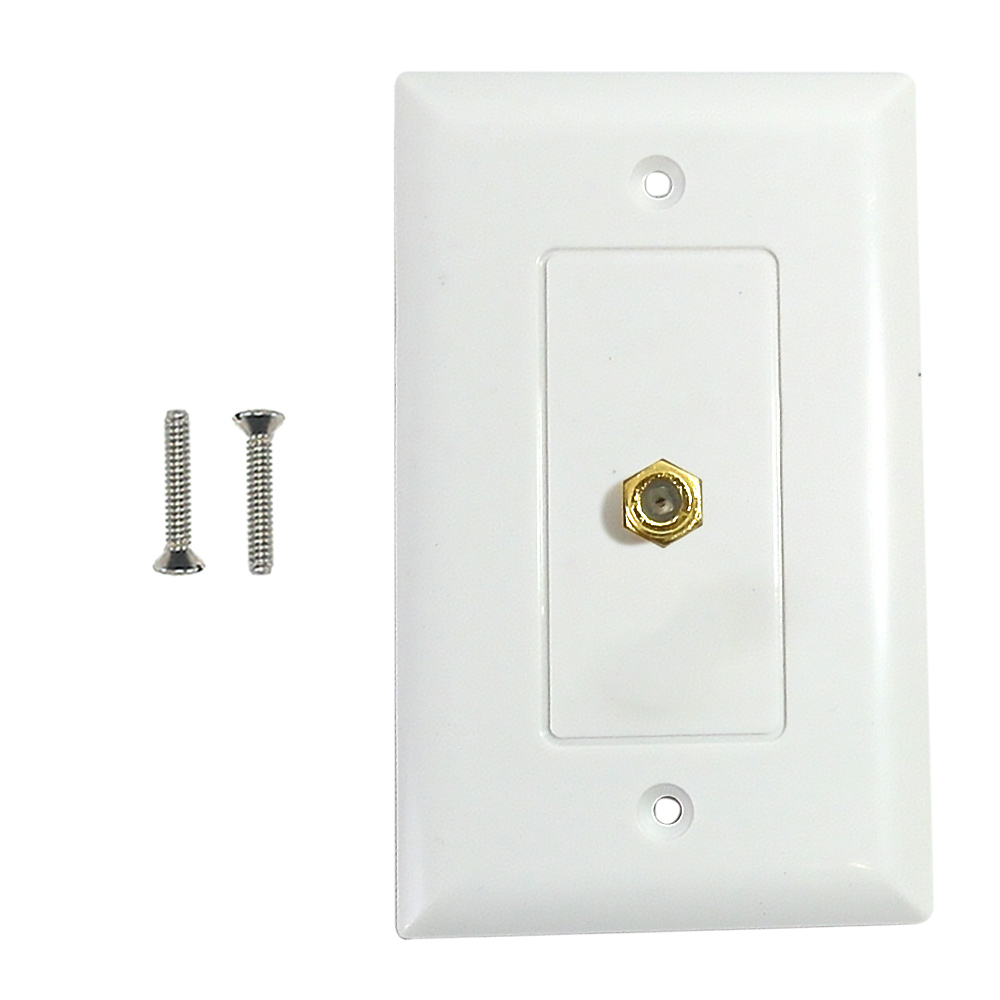HF-WPK-TVF1-WH: Single gang decora style coax wall plate - White