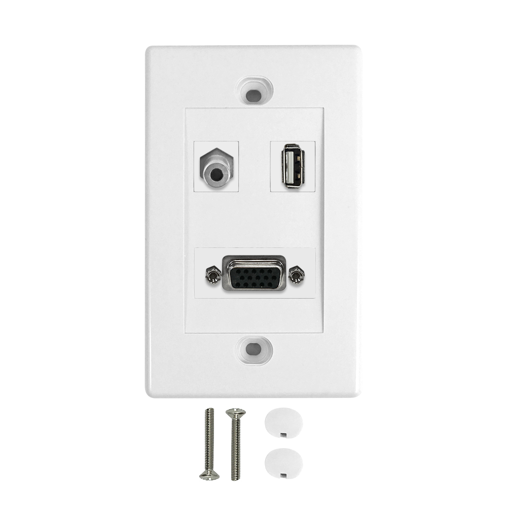 HF-WPK-VA35U-1: 1-Port VGA + 1-Port USB + 1-Port 3.5mm Wall Plate Kit - White