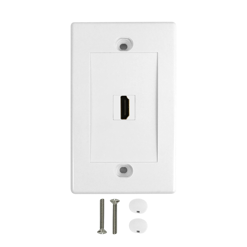 HF-WPK-VH1: 1-Port HDMI Wall Plate Kit - White