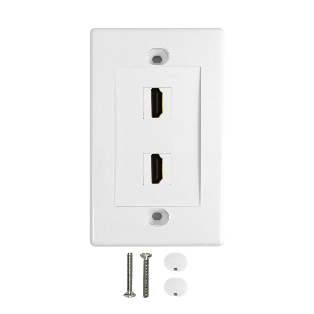HF-WPK-VH2: 2-Port HDMI Wall Plate Kit - White