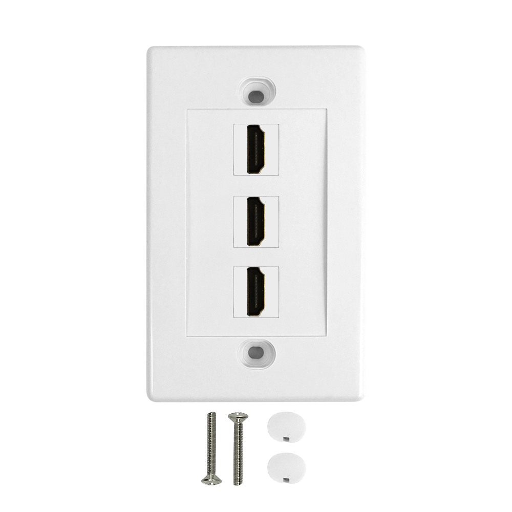 HF-WPK-VH3: 3-Port HDMI Wall Plate Kit - White