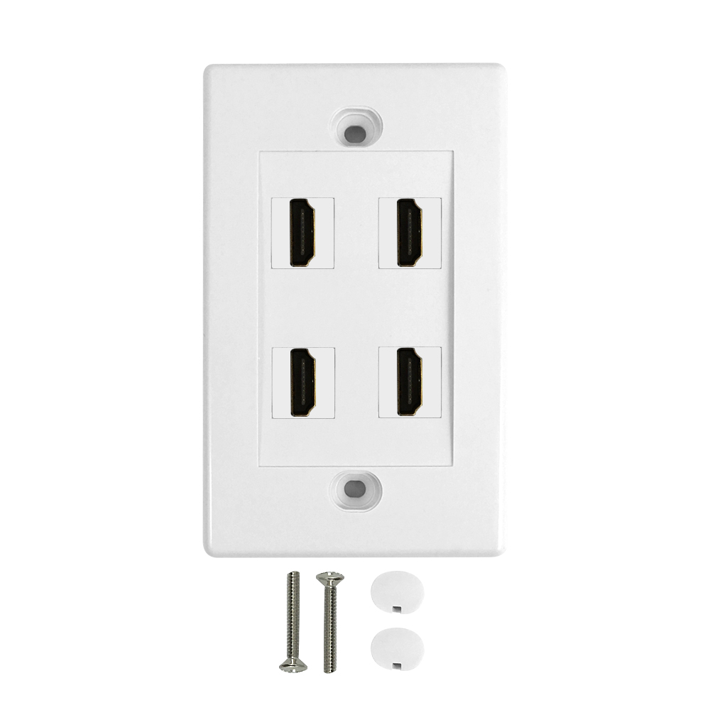 HF-WPK-VH4: 4-Port HDMI Wall Plate Kit - White