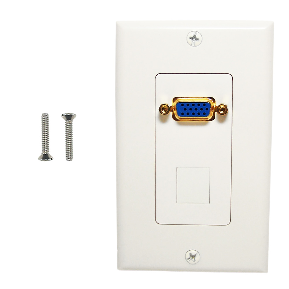 HF-WPK-VKH1: 1-Port VGA Wall Plate Kit Decora White (with 1x Keystone Hole)