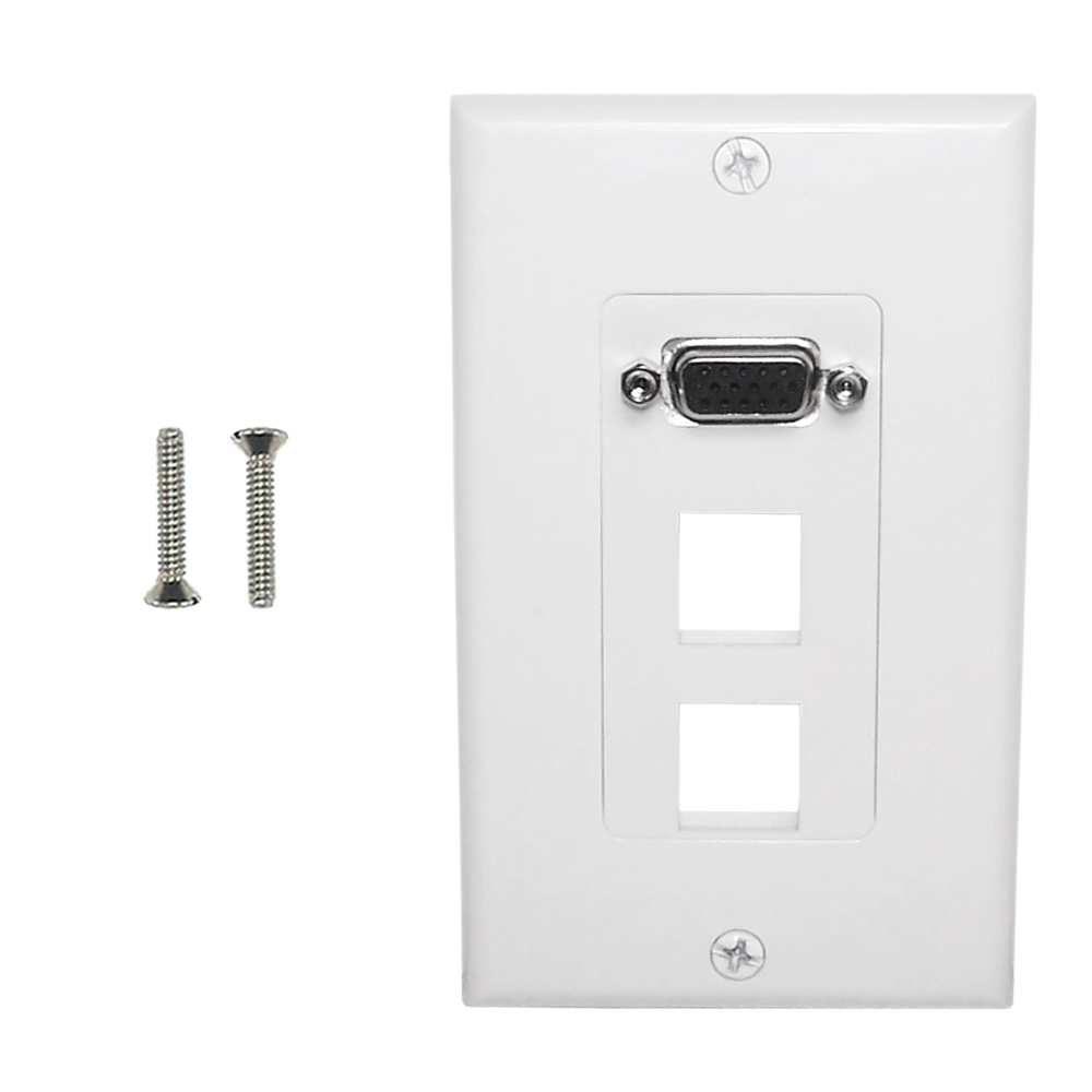 HF-WPK-VKH2: 1-Port VGA Wall Plate Kit Decora White (with 2x Keystone Hole)