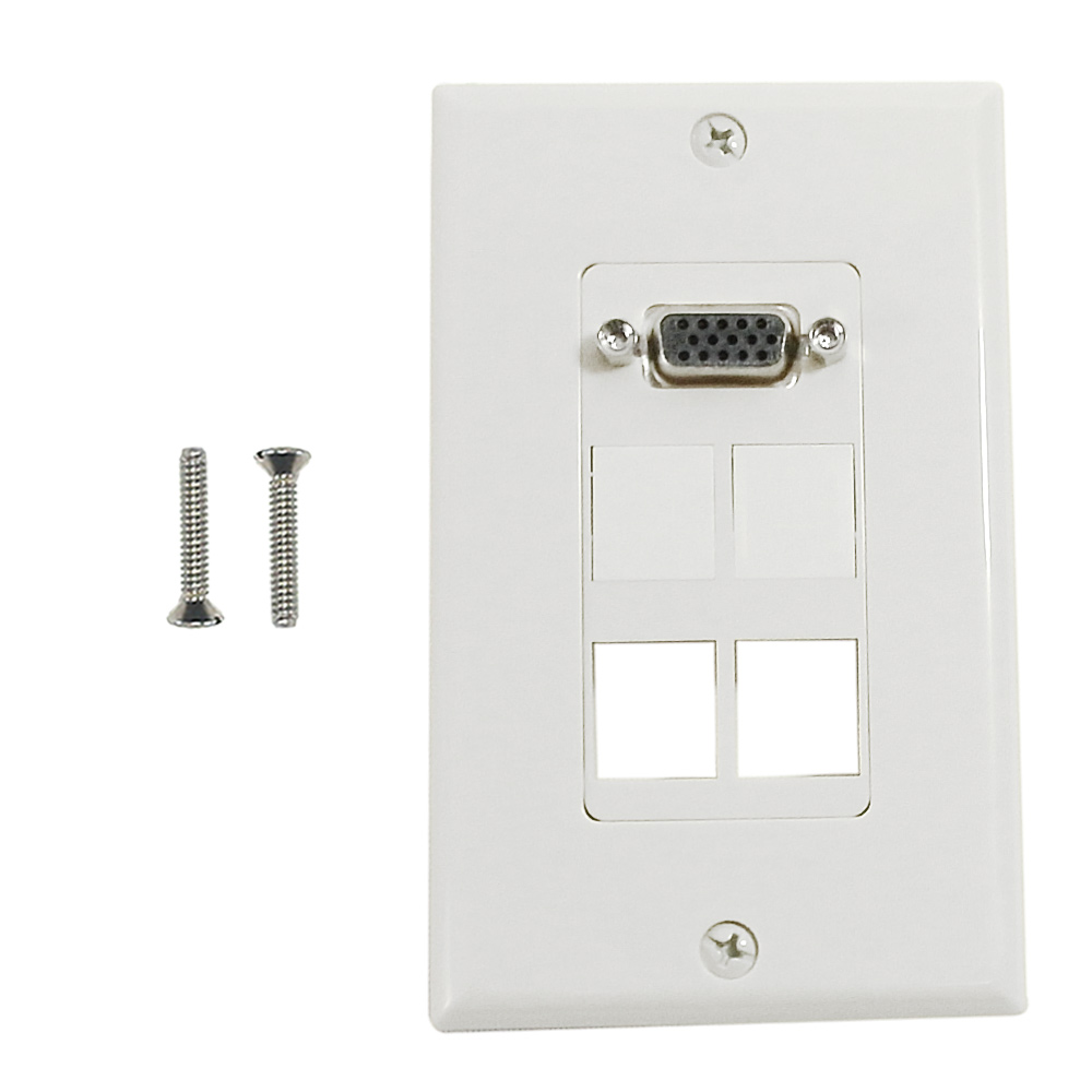 HF-WPK-VKH4: 1-Port VGA Wall Plate Kit Decora White (with 4x Keystone inserts)