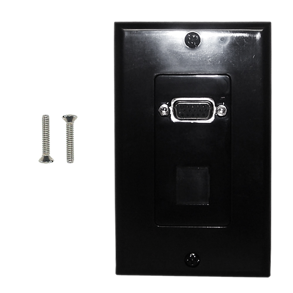 HF-WPK-VKHBK1: 1-Port VGA Wall Plate Kit Decora Black (with 1x Keystone Hole)