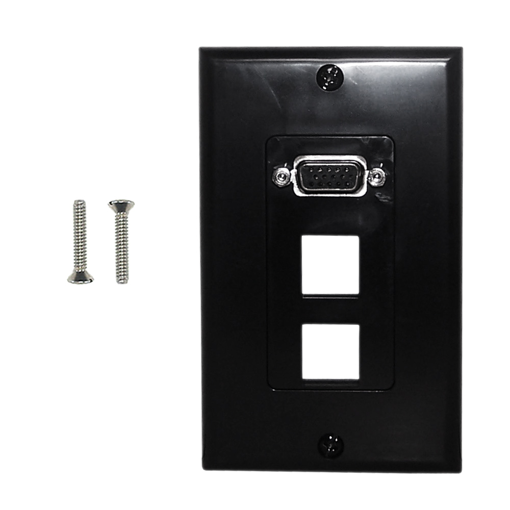 HF-WPK-VKHBK2: 1-Port VGA Wall Plate Kit Decora Black (with 2x Keystone Hole)