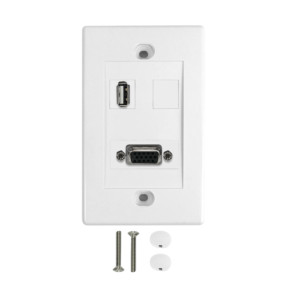 HF-WPK-VU1: 1-Port VGA + 1-Port USB Wall Plate Kit - White