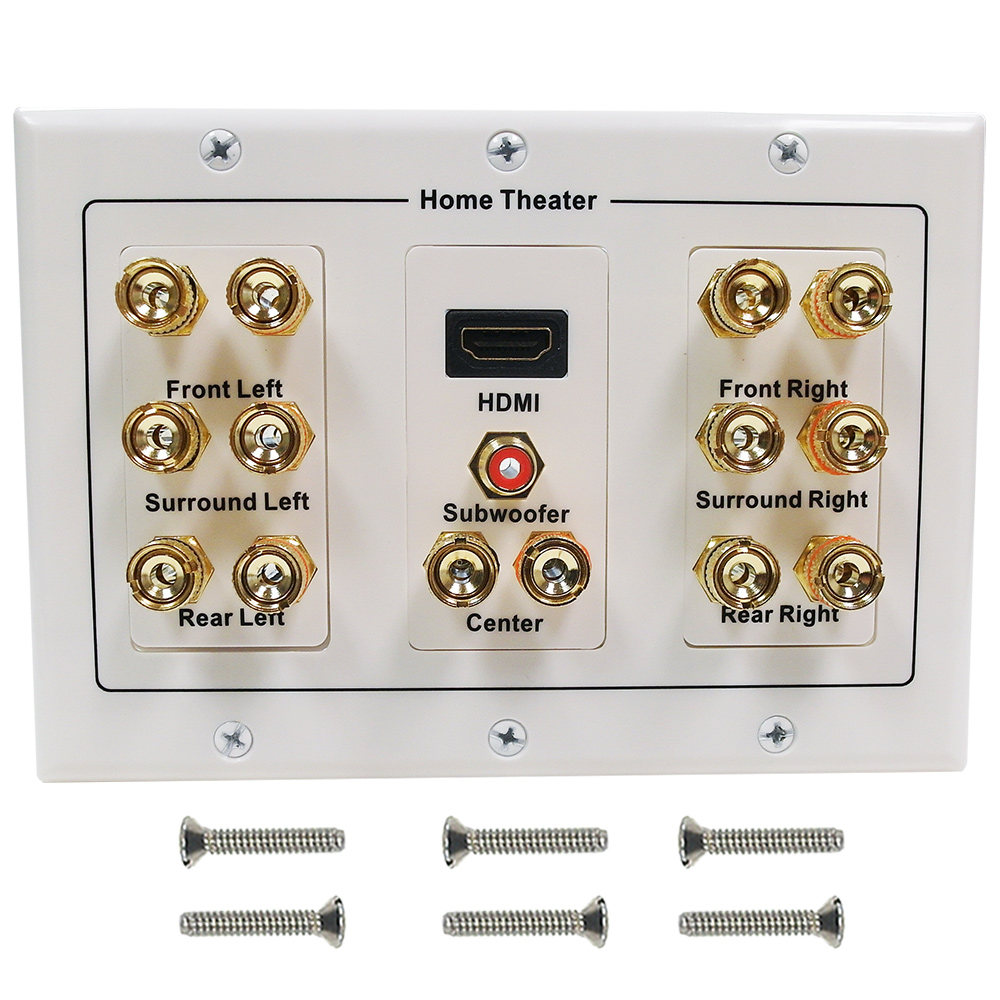 HF-WPK71H: 7.1 Surround Sound + HDMI Wall Plate Kit, Decora - White
