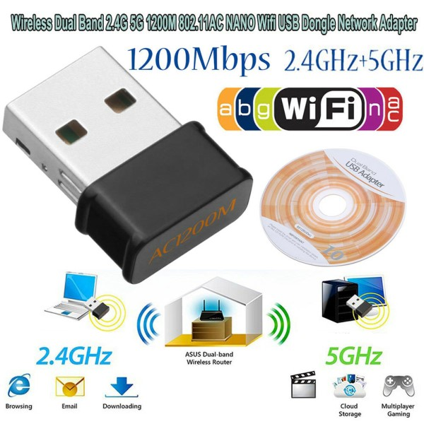 HF-NU1200: 1200Mbps WIRELESS AC 2.4G+5G USB Adaptor