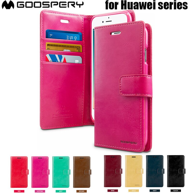 HWP-GPBD-C: Goospery BlueMoon Diary Leather Slim Card Case For Huawei Smart Phone