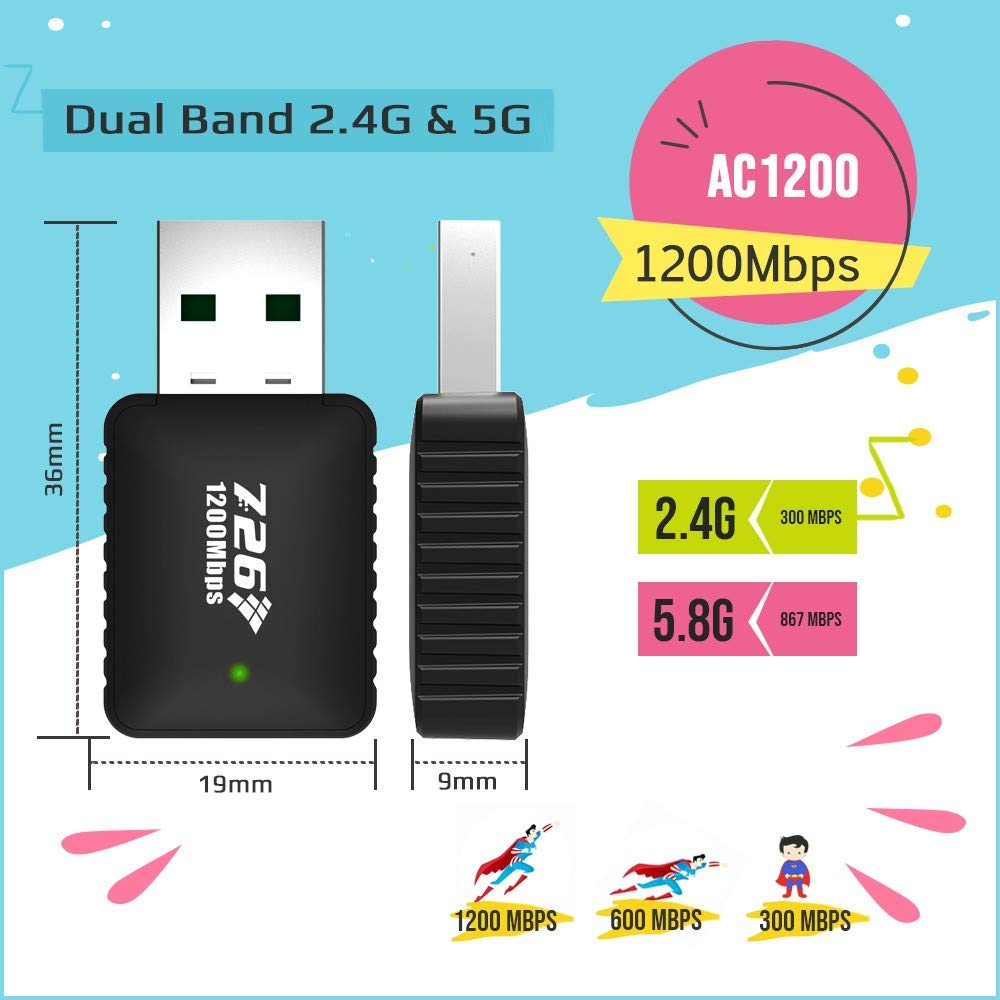 MAG-W1200: WiFi Adapter 1200Mbps WiFi Dongle 2.4G/5G USB Adapter for MAG 254 256 322 Mag322w1 Mag324w2