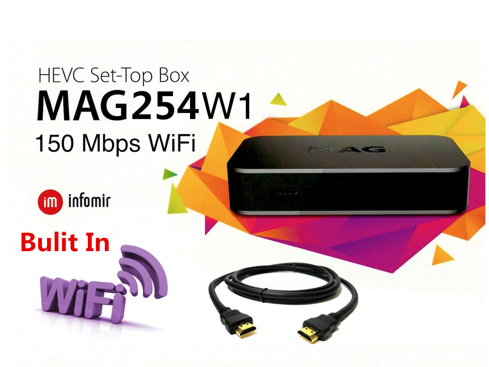 MAG254W1: Genuine MAG 254 W1 Model Set-TOP-Box with 150Mbps Built-in WiFi by INFOMIR