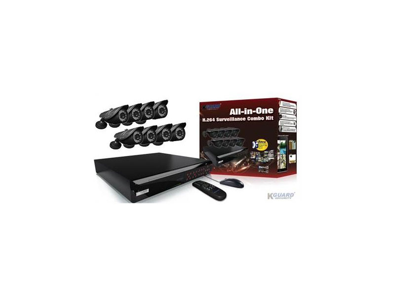 NS1601-8CW214H-1TB: Kguard All-in-One 16 Channel DVR Surveillance System - D1 Resolution, H.264, 8x 420 TVL Cameras, 1TB Storage