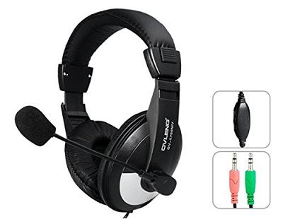 OVLENG OV-L750MV: 3.5mm Full Size stereo PC Headset with Microphone & 1.8 m Cable (Black)