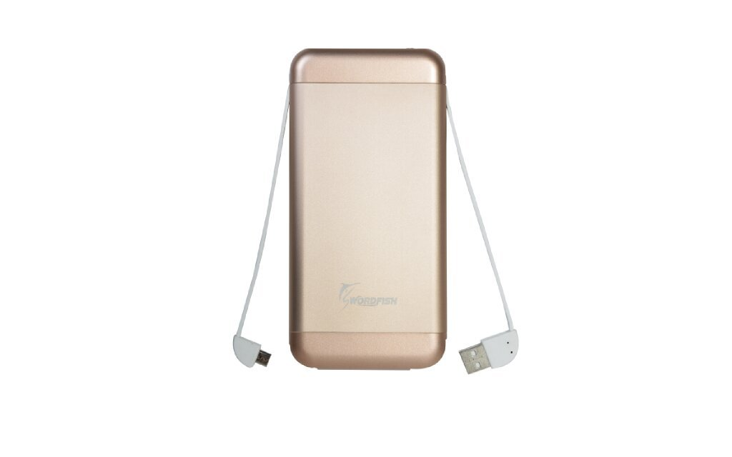 SPB-215: Swordfish Built in Charging Cable 15000mAh Portable Charger External Battery Pack, iPhone, Samsung, Andriod, Smart Phones and Tablets, Gold