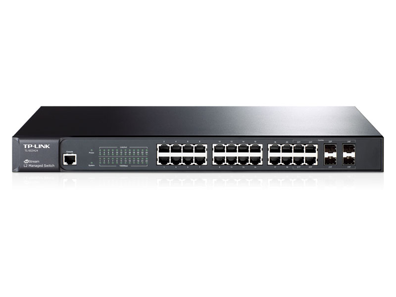 TL-SG3424: JetStream™ 24-Port Gigabit L2 Managed Switch with 4 Combo SFP Slots