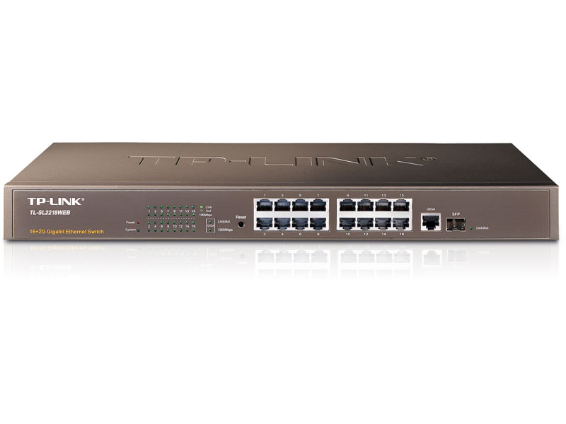 TL-SL2218Web: 16-Port 10/100Mbps 2-Port Gigabit Web Smart Switch