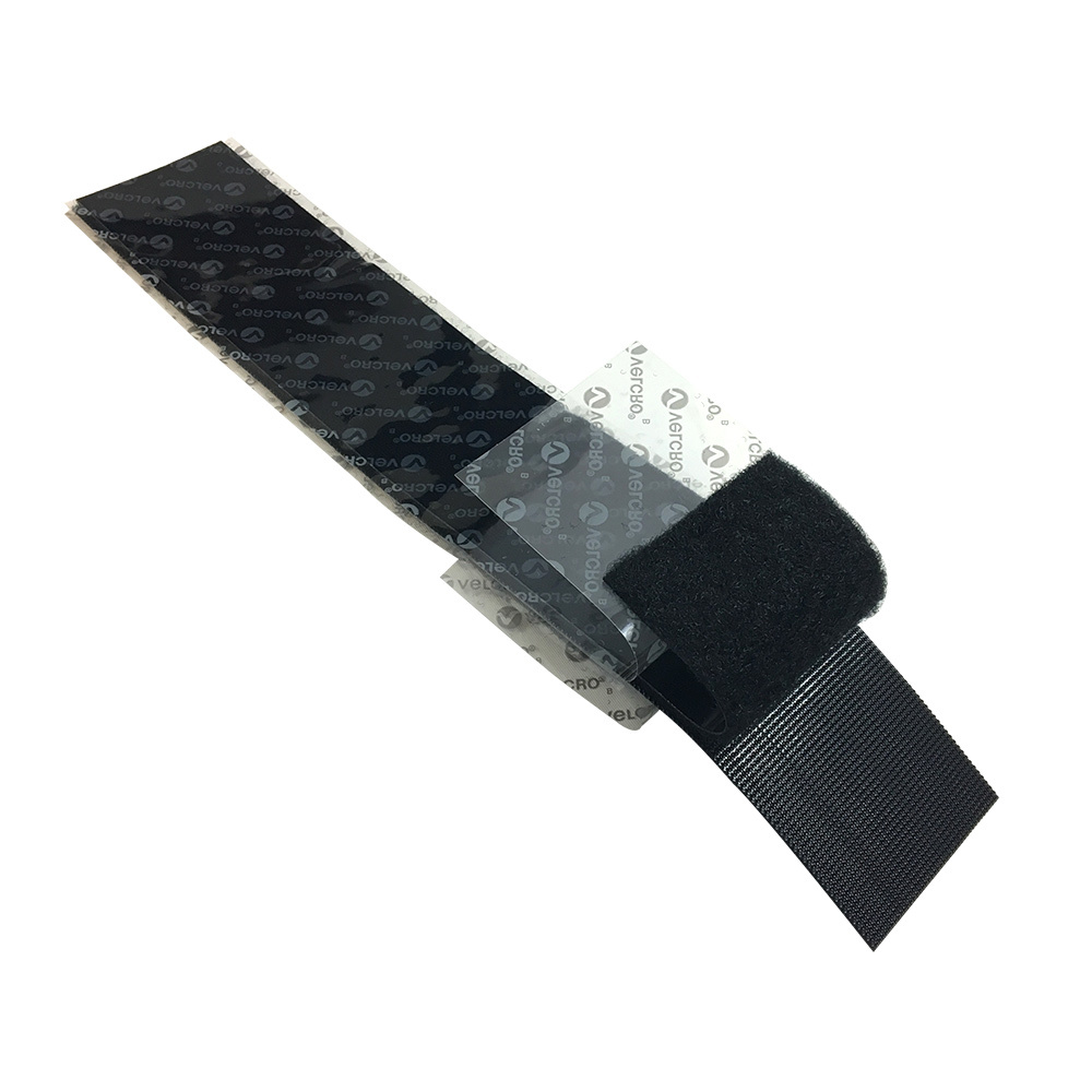 VL-AD200-01BK: 12 inch x 2 inch Rip-Tie Industrial Adhesive Back Wrap Velcro Strips - Black (5 mated pairs)