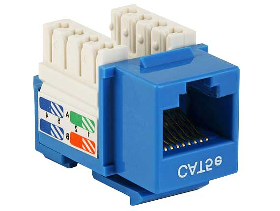 WPIN-45110S-BL: RJ45 Cat5e slim profile jack keystone, 110 punch-down - Blue