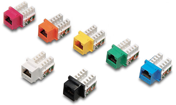 WPIN-45110S6: RJ45 Cat6 slim profile jack, 110 punch-down , assorted color