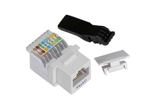WPIN-45TL6-W: Cat6 RJ45 tool-less jack keystone WHITE