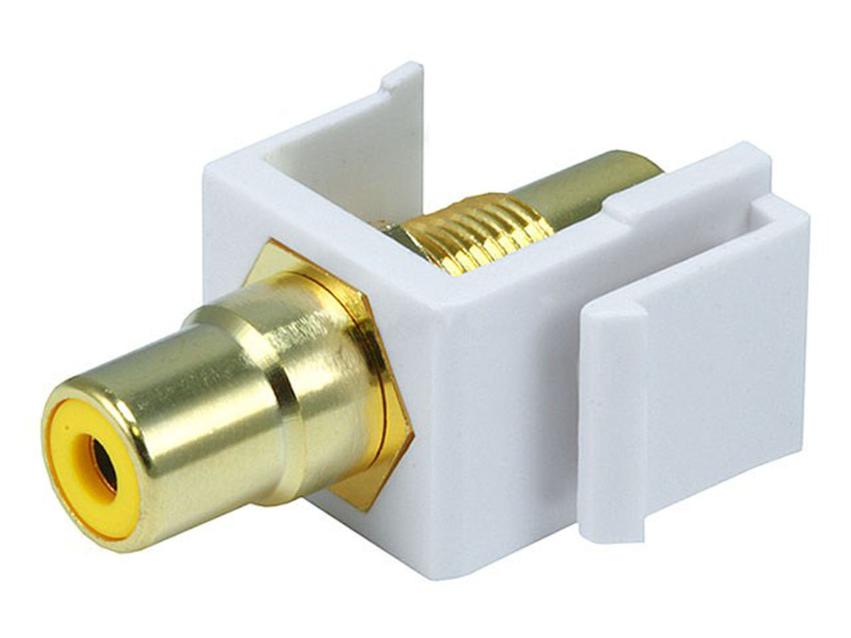 WPIN-RCA-Y: RCA F/F keystone wall plate insert white, gold plated -Yellow