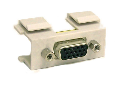 WPIN-VGAFF: VGA double-keystone wall plate insert HD15 female/female coupler