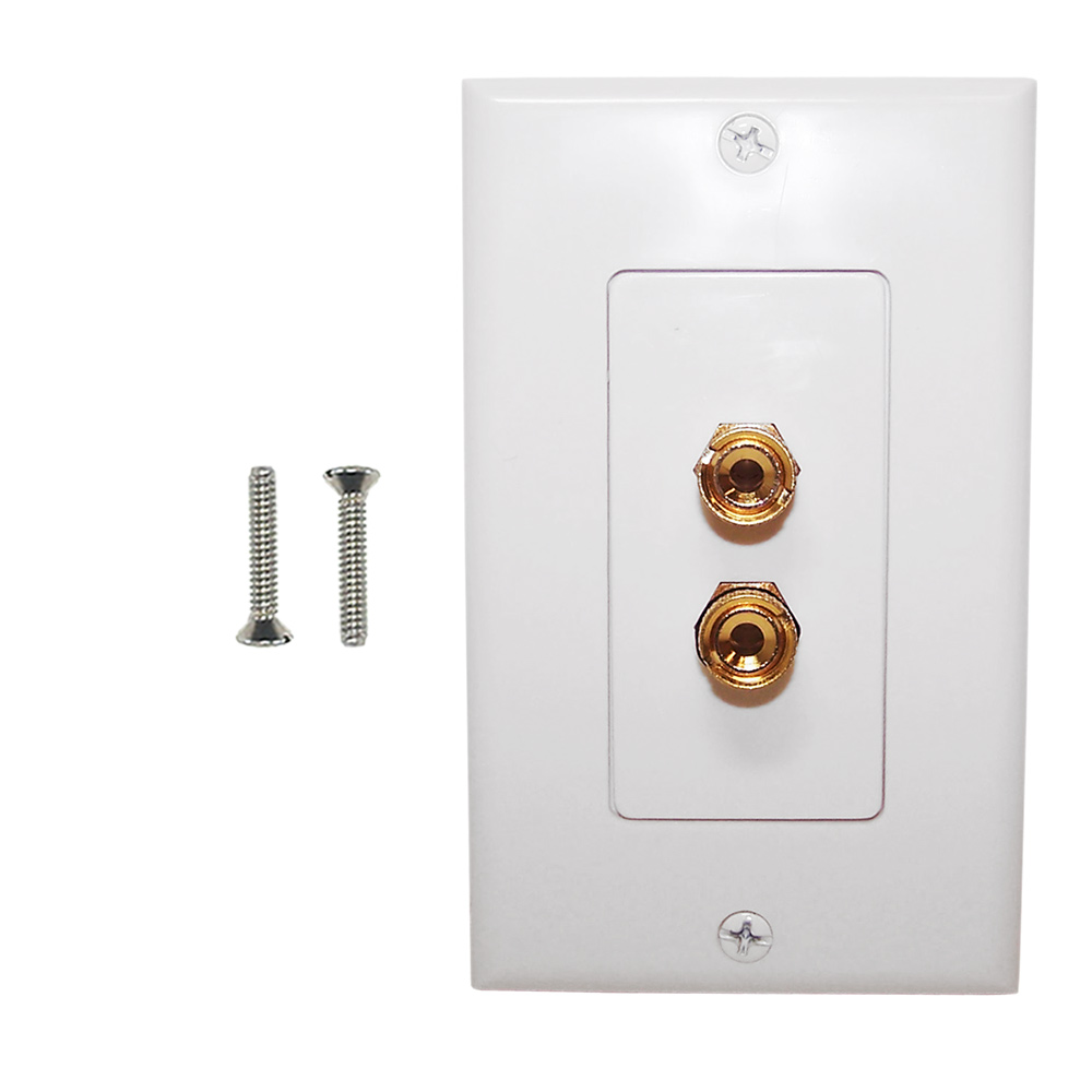 HF-WPK-BAN1-D: 1 Pair Banana Clip Wall Plate Kit Decora - White