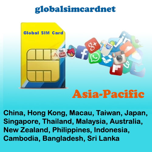 GSC-AS1: China/Asia Pacific Area1 Travelling Internet LTE Global SIM Card 2-5GB/7-30 Days