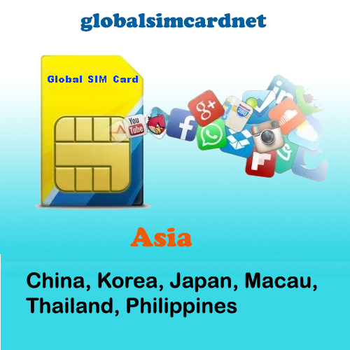 GSC-AS2: China/Korea/Asia Area2 Travelling Internet LTE Global SIM Card 2-5GB/7-30 Days