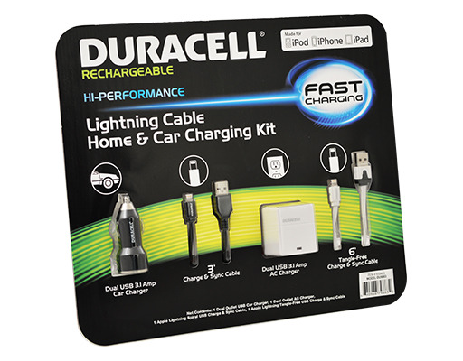 Duracell DU9883: Hi-Performance, Four Piece Set/Kit, Lightning Cable Home & Car Charging Kit